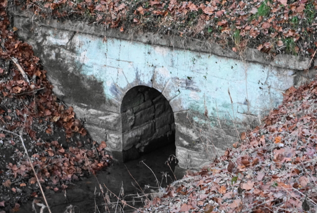 A stone built arched culvert.