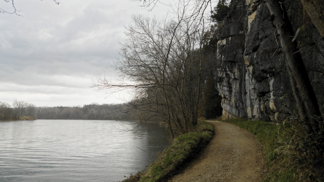 Limestone cliffs and towpath.
