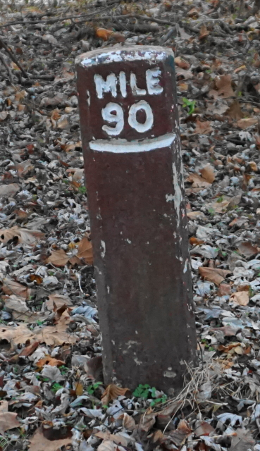 A leaning mile marker post.