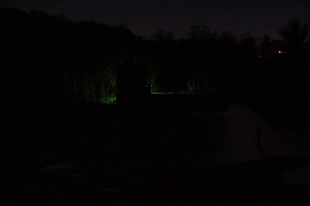 Night photograph of the power generating plant at Dam #5.