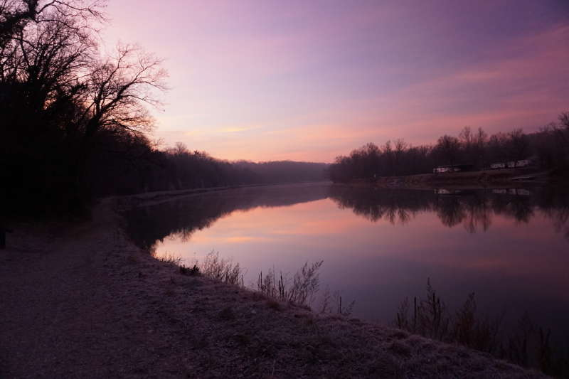 Picture of the Potomac River near McMahon's Mill. The pre-dawn light reflects the sky on its smooth surface.